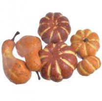 Setje bruine en oranje pompoentjes, 6 stuks