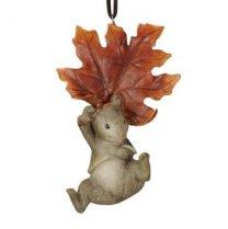 Hanger Grijs Muisje hangend aan blad, 11cm