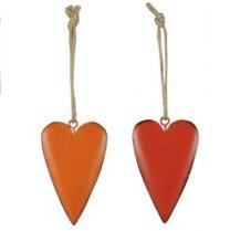 Setje metalen hartjes rood en oranje, 7cm