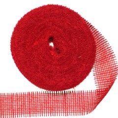 Jute band warm rood, 6cm