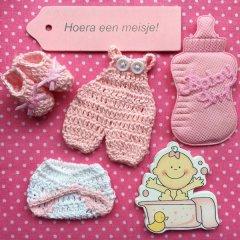 Hoera een meisje, gemengd zakje babyshower decoratie, 6 stuks