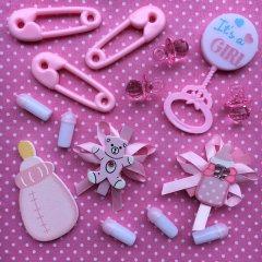 It's a girl, gemengd zakje babyshower decoratie, 15stuks