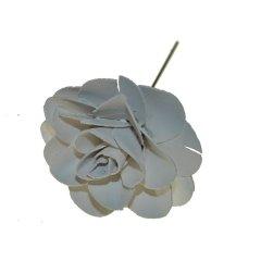 Witte houten bloem op ijzerdraad, 6cm