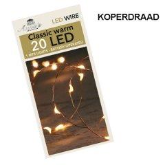 LED lichtsnoer KOPER met TIMER 20 lampjes, 110cm