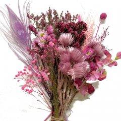 Droogbloemen mix Fuchsia met kaapse bloemetjes en pauwenveer, 25cm