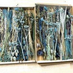Brievenbusdoosje LARGE, met korte droogbloemenmix blauwe tinten