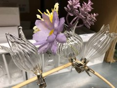 Setje van drie verschillende bloemenvaasjes met clip, clipvaasjes, 8cm