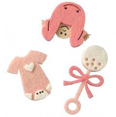 Setje roze vilten figuren, romper, rammelaar, baby