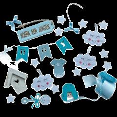 Geboortemix blauw met wolkjes, wit huisje en linten