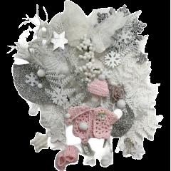 Wintermix wit, zilver en roze decoratie