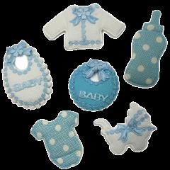 Mix Lixchtblauw-wit van 6 stoffen figuurtjes