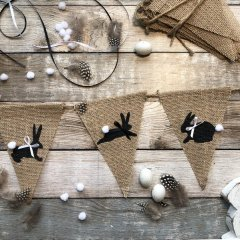 Voorjaarsactie! Jute Lentevlaggetjes met paashaasjes, 2.80m