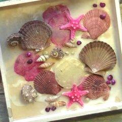 UITVERKOCHT; Pakket; Schelpen wit met roze tafereel met bloemenwas, 25cm