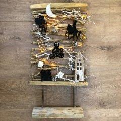 UITVERKOCHT; Pakket, Theehouten frame met Sinterklaasversiering, 60x30cm