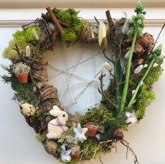 UITVERKOCHT; I love spring; Lente hart spring groen met kurk en voorjaarsdecoratie, 25cm