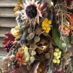 BIJNA uitverkocht; Swag met herfstdecoratie en LED lampjes, 110cm