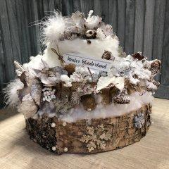 Winter Wonderland, IJzige taart met frosting en naturelle tinten, 30cm