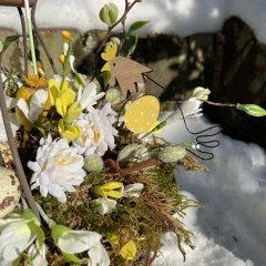NIEUW! Lentemandje met kippetjes en metalen bloem, 21cm
