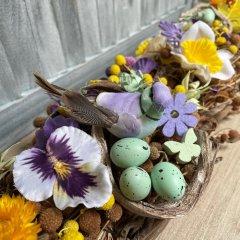 NIEUW: Lente Swag van coco twigs met vlinders en gele en paarse sago, 110cm