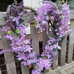 Pakket; Hart met Wisteria, wilde bloemen en schelpen, 36cm