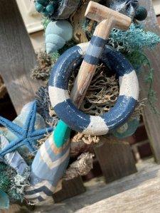 Pakket; Lychenmos strandkrans met blauwe tinten en roeispaan