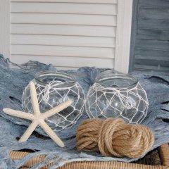 Waxinelicht-houder Summer L met wit weeftouw,15cm
