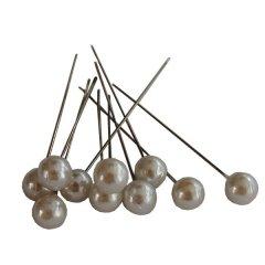 Pushpin, Spelden met witte parel, 25 stuks, 6mm