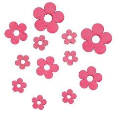 Roze bloemen van hout, 12 stuks