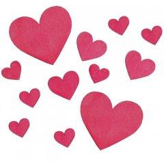 Roze harten van hout, 12 stuks