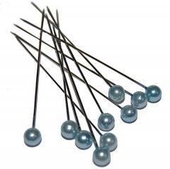 Pushpin, Spelden met witte grijsblauwe parel, 10 stuks, 5mm