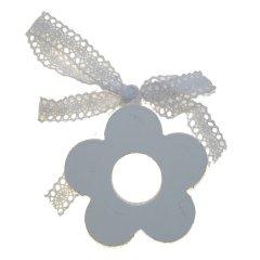 Houten bloemen wit met kanten lintje, 7cm