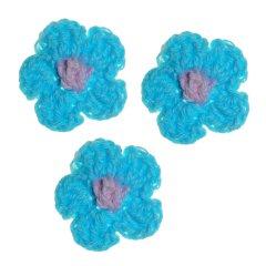Gehaakte bloemetjesijsblauw, 3cm