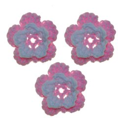 Gehaakte bloemetjes roze, 3 stuks, 3cm