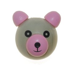 Houten beer kraal roze, 2,6cm
