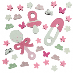 Mix kleine deco en Houten roze figuurtjes