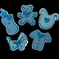 Setje van 5 blauwe vilten geboorte figuren, 5cm