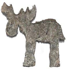 Rendier van schors met glitters, 8cm
