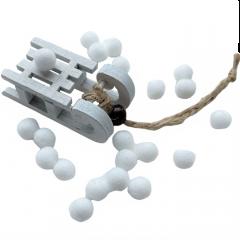 Mini sleetje wit met kraal en pomponnetjes, 6cm