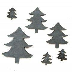 Setje grijze boompjes 6 stuks