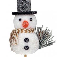 Sneeuwpop met decoratie, 8cm