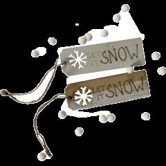 Wit en naturel label, Let it snow, met pomponnetjes