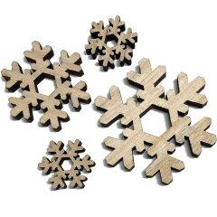 4 Houten sneeuwvlokken naturel