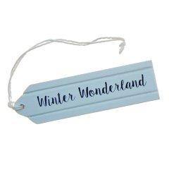 NIEUW! Houten label; Winter Wonderland. 9cm