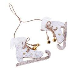 Witte schaatsjes met Gouden glitters en bont, 8cm