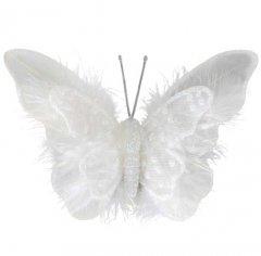 Set van drie winterse witte vlinders, 12x8cm