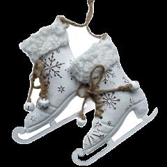 Set metalen schaatsjes met sneeuwvlok en bont, 10,5cm