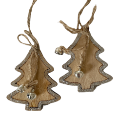 Twee houten kerstboomhangers met zilveren belletjes, 7cm