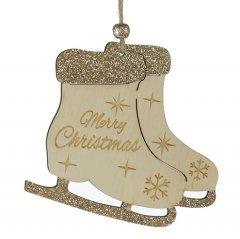 AANBIEDINGSPRIJS; Houten schaats met champagnekleurige glitters. 12,5cm