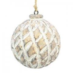 Sobere Houten kerstbal met gouden accenten, 8cm