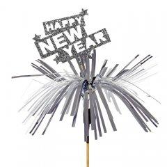 Happy New Year met tinsel, 5 stuks, 8cm